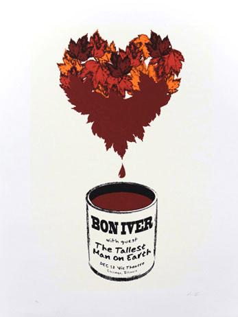 Bon Iver concert poster Chicago