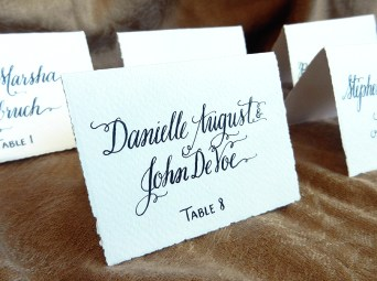 Place Cards Created Using an Oblique Calligraphy Pen | The Postman's Knock