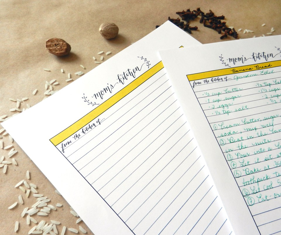Mom's Kitchen Recipe Template   The Postman's Knock