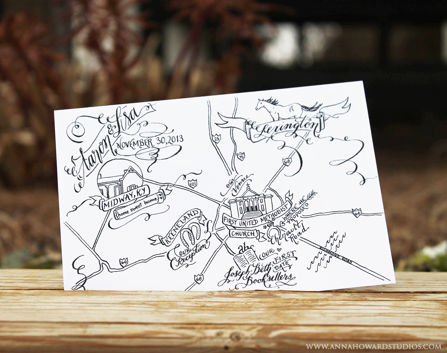 Black and White Illustrated Wedding Map   The Postman's Knock