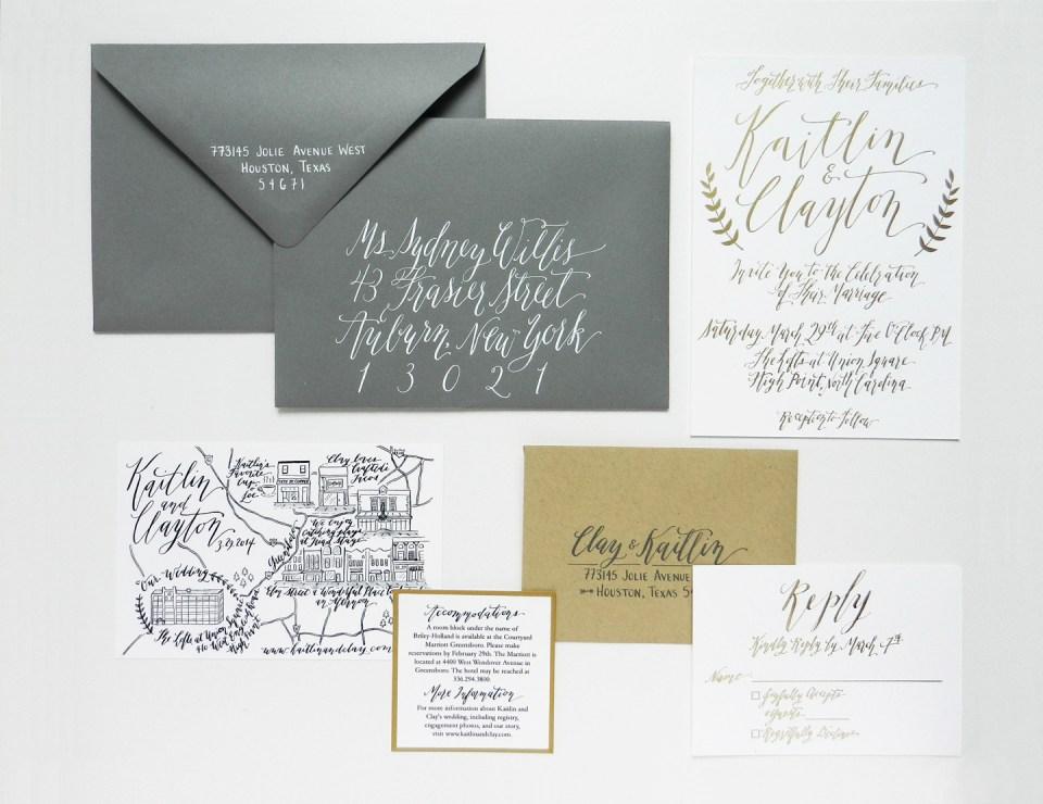 Gold Foil Wedding Invitation Suite The Postman 39 S Knock