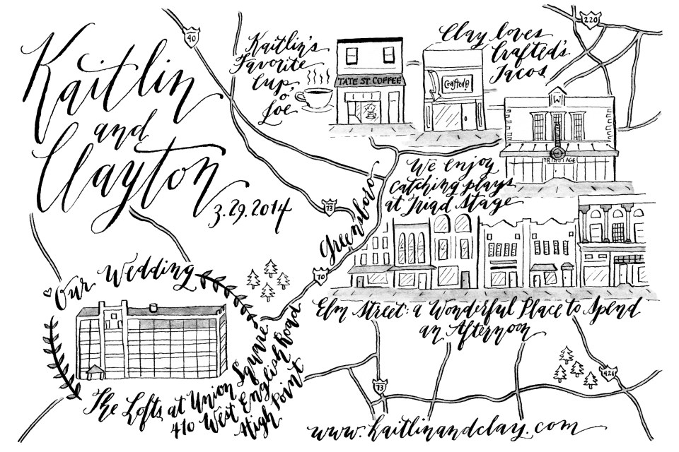 Illustrated Wedding Map | The Postman's Knock