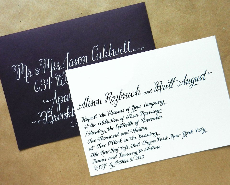 Calligraphy Wedding Invitation | The Postman's Knock