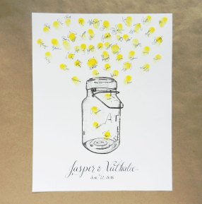 Fireflies and Bell Jar Thumbprint Guest Book