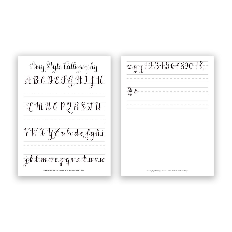 Free Basic Calligraphy Worksheet Amy Style