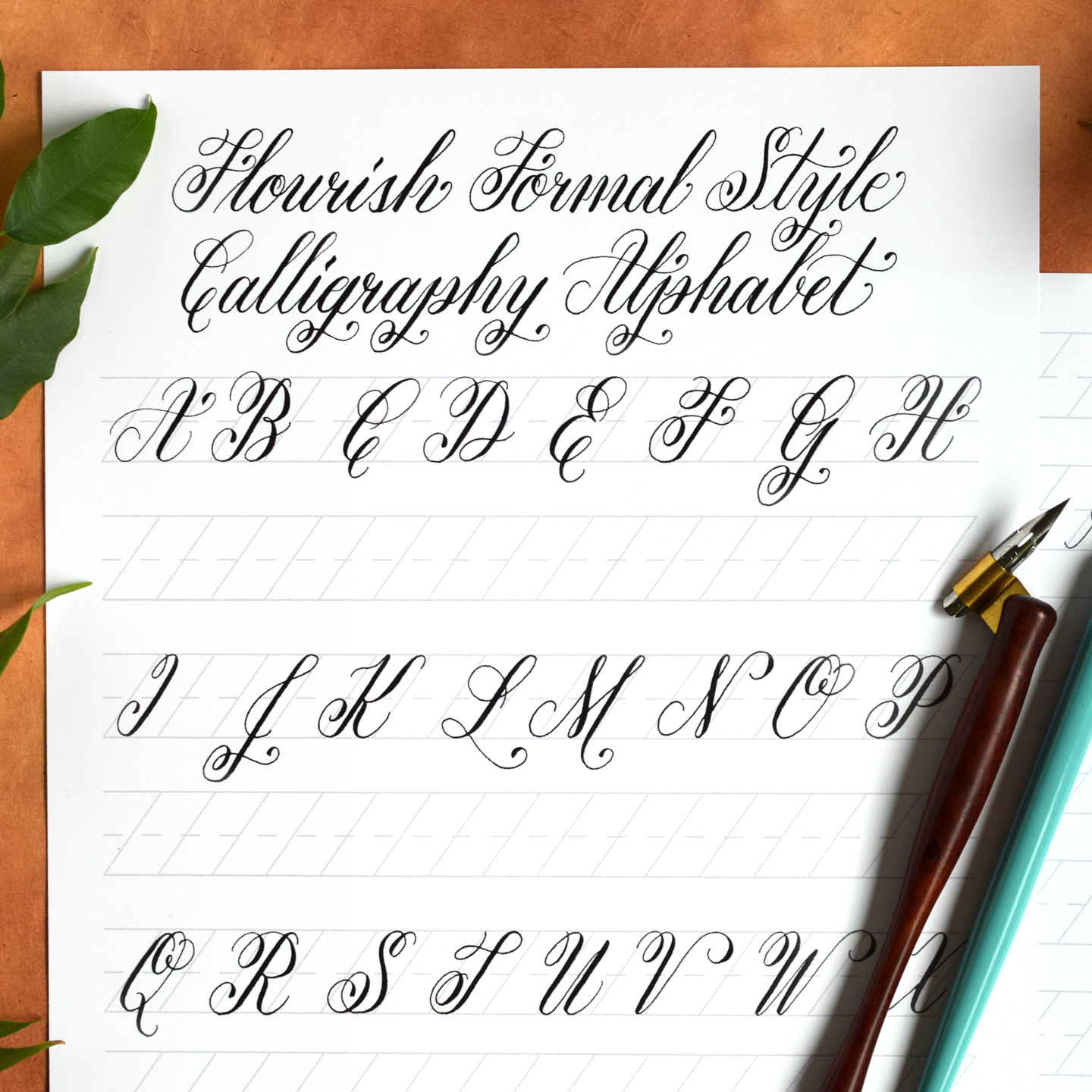 Free Basic Flourish Formal Calligraphy Worksheet