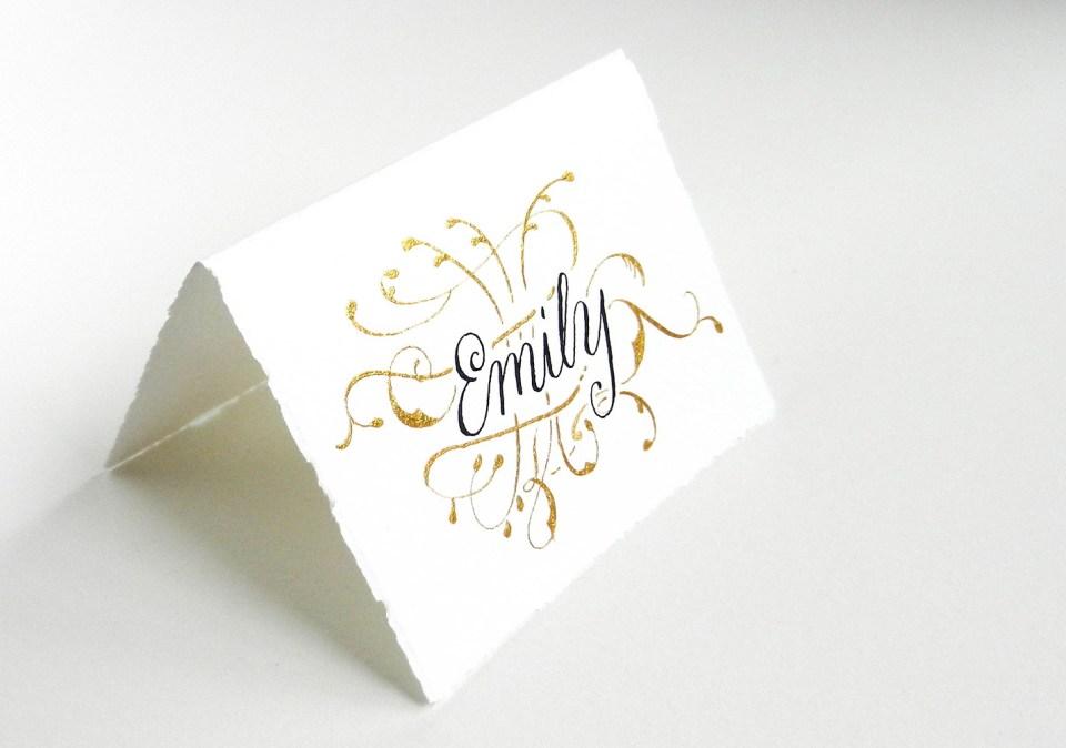 Gold Flourish Place Card | The Postman's Knock