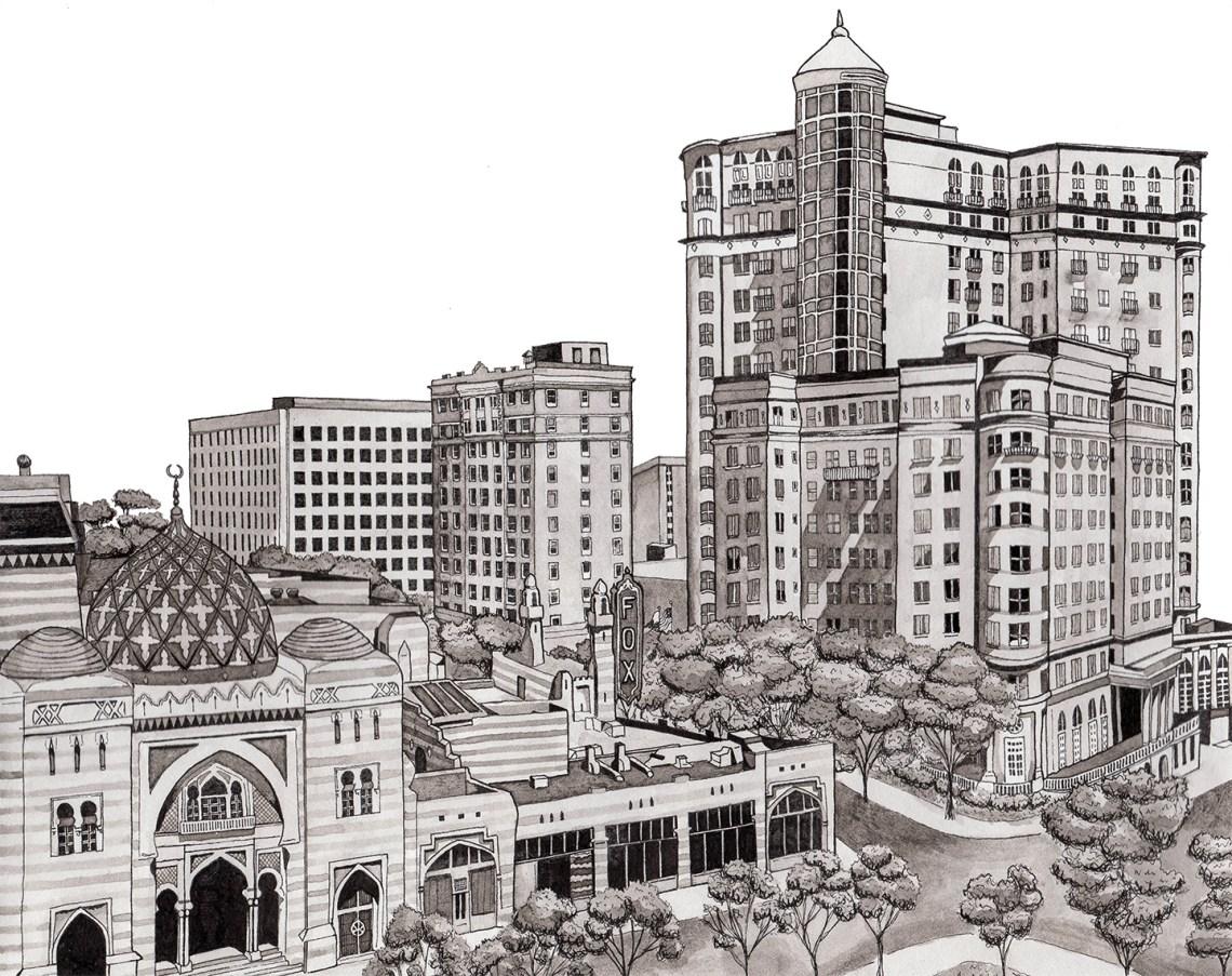 Atlanta Cityscape Illustration   The Postman's Knock