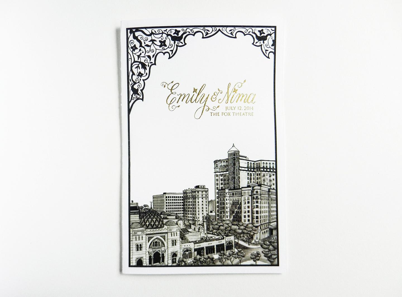 Cityscape Wedding Program Covers | The Postman's Knock