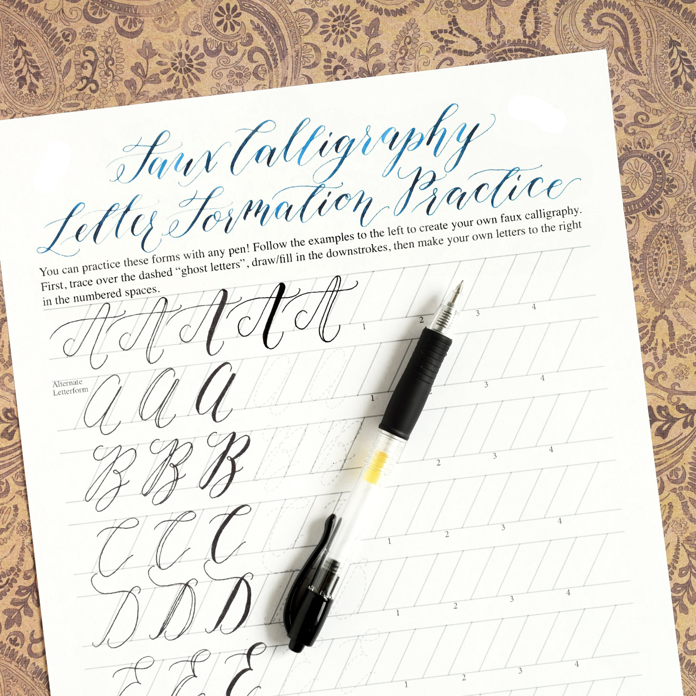 Worksheets calligraphy practice atidentity