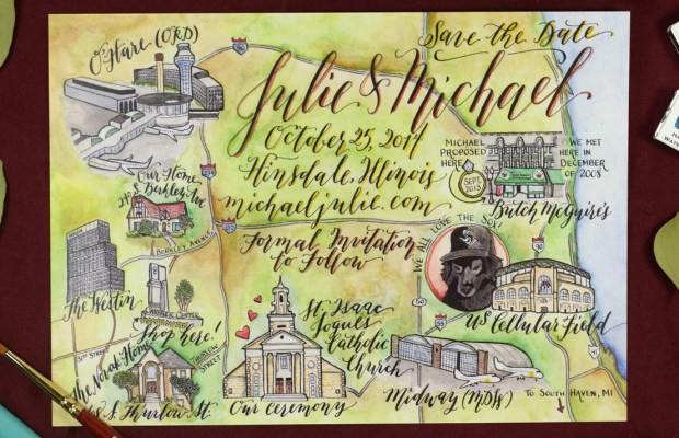 Kaitlin Style Calligraphy Map | The Postman's Knock
