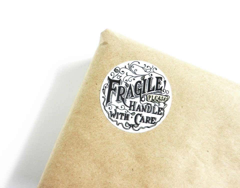 Fragile Handle with Care Sticker   The Postman's Knock