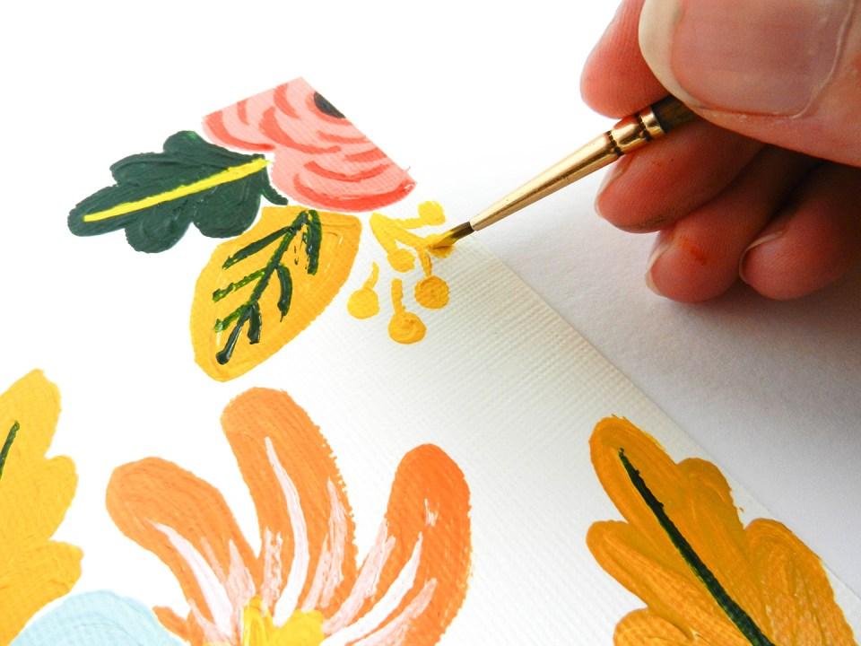 Retro Painted Flowers Tutorial | The Postman's Knock