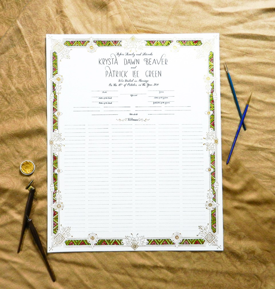 Hand-Drawn Quaker Marriage Certificate | The Postman's Knock