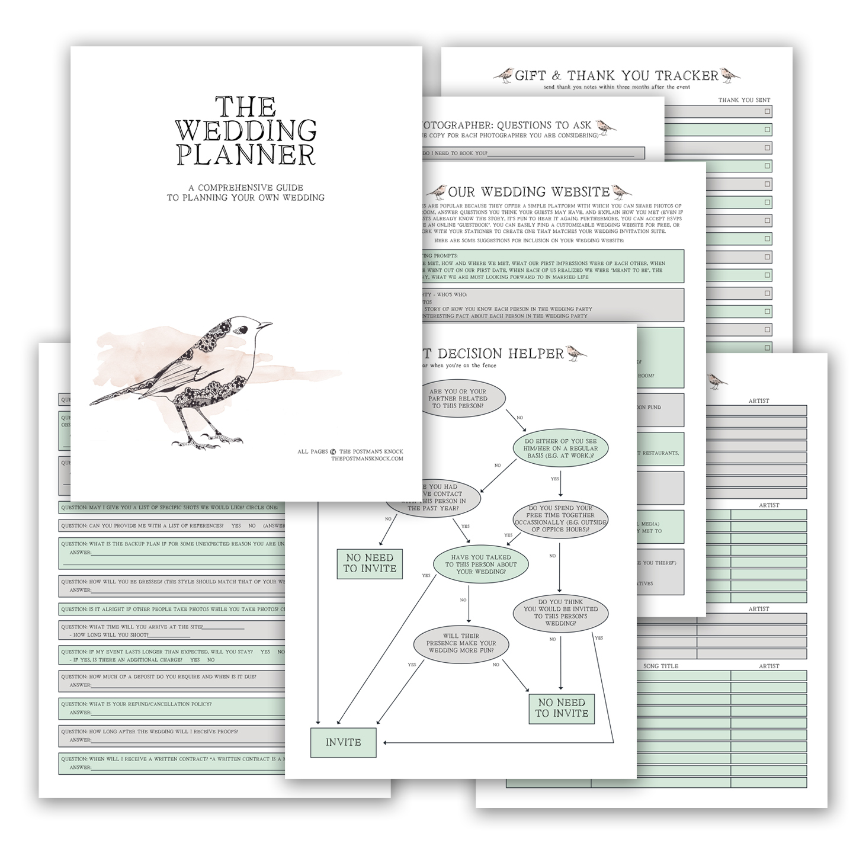 printable wedding planner the postman s knock