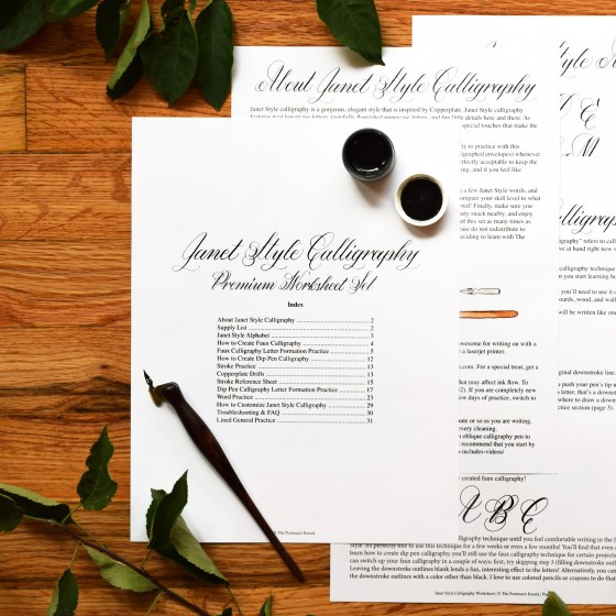 Printable Calligraphy Worksheet Set (Janet Style) | The Postman's Knock