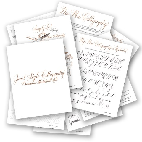 Janet Style Premium Calligraphy Worksheet Set | The Postman's Knock