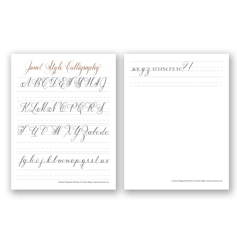 Free Basic Calligraphy Worksheet Janet Style