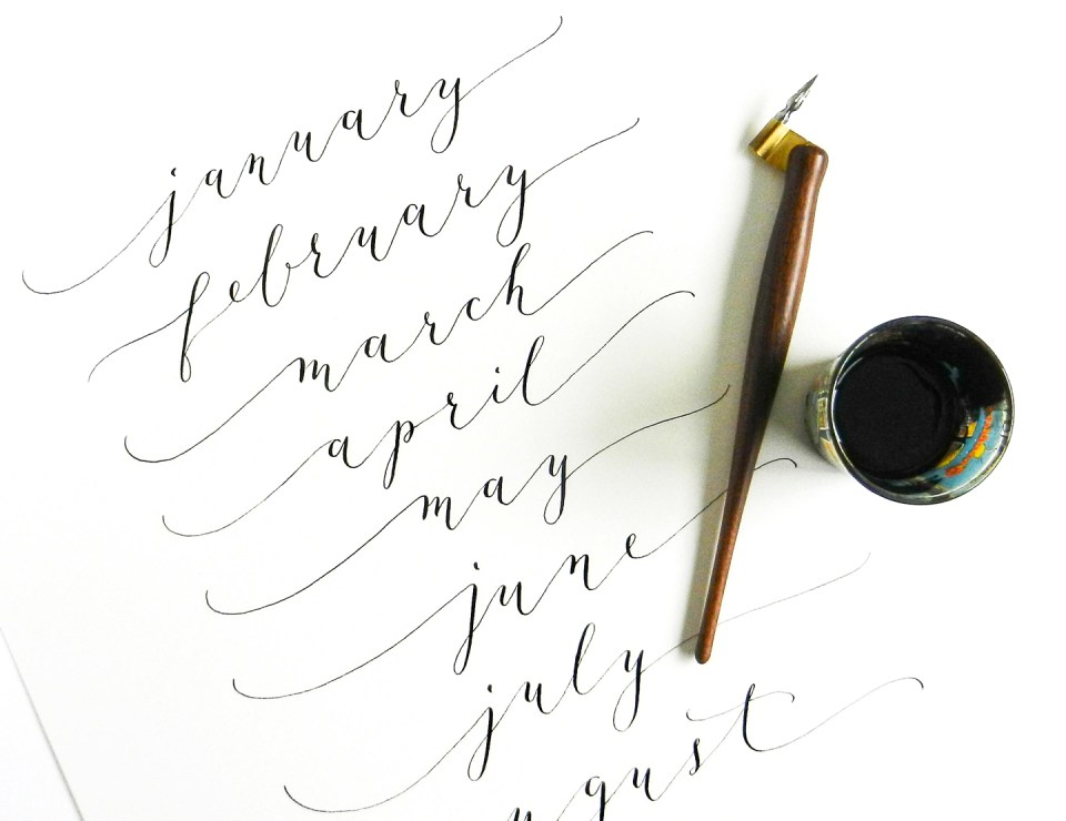 Calligraphy for 2015 Calendar | The Postman's Knock