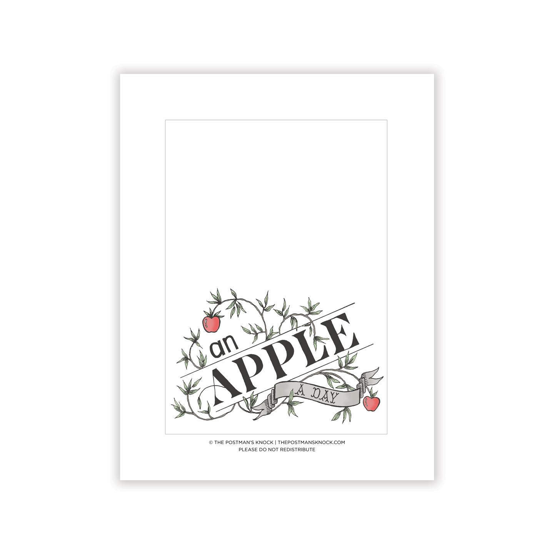 4 25 X6 Apple A Day Printable Card