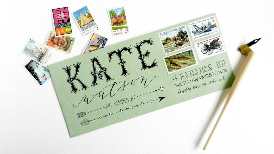 Hand-Lettered Envelope   The Postman's Knock