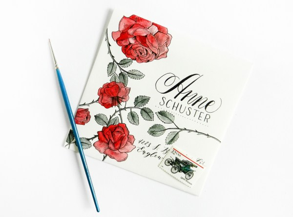 Calligraphy and Roses on Crane's Lettra Envelope | The Postman's Knock