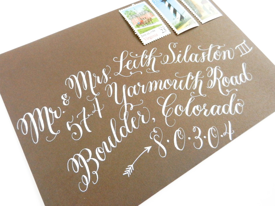 Flourish Formal Style Envelope with White Ink   The Postman's Knock
