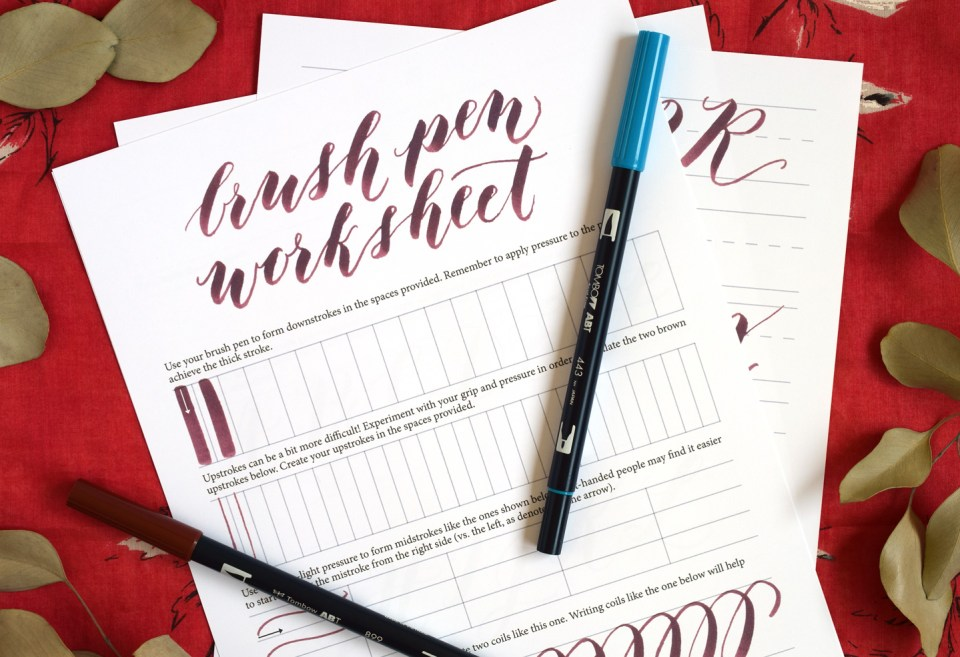 Brush Pen Calligraphy Worksheet – Free Calligraphy Worksheets