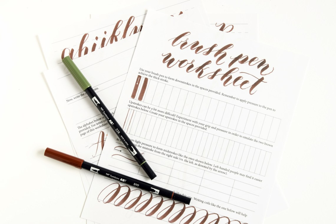 Free brush pen calligraphy worksheet the postman s knock