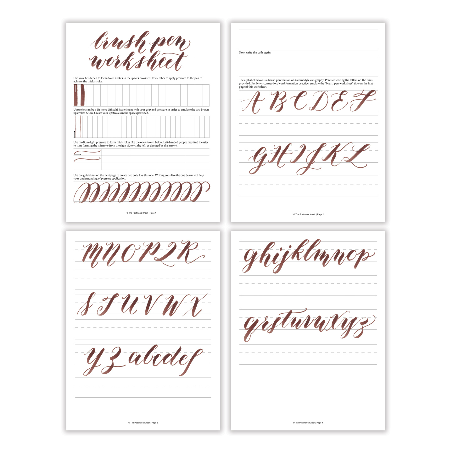 Free basic brush pen calligraphy worksheet the postman 39 s Calligraphy basics