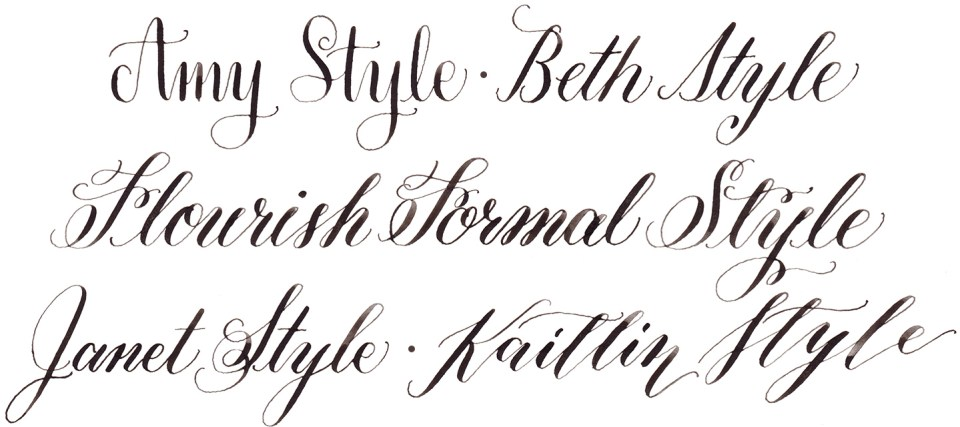 A Guide to TPK Calligraphy Styles: Amy, Flourish Formal, Kaitlin | The Postman's Knock