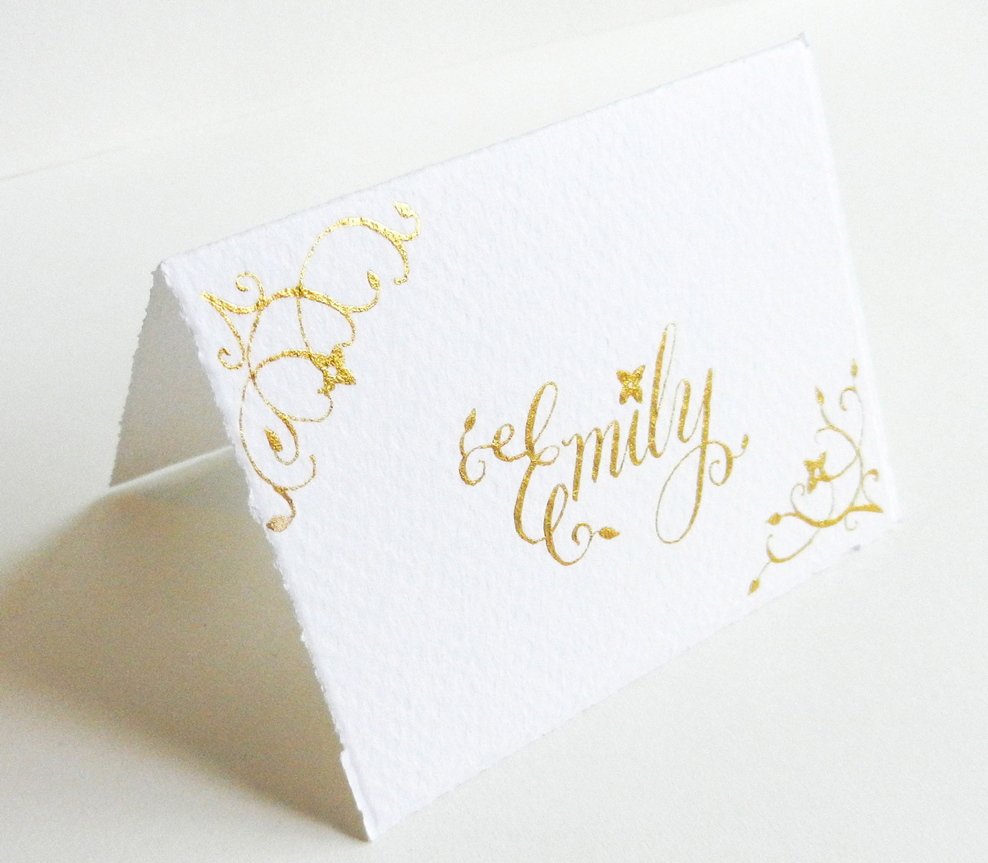 Flourish Formal Style Placecard Written with Gold Ink
