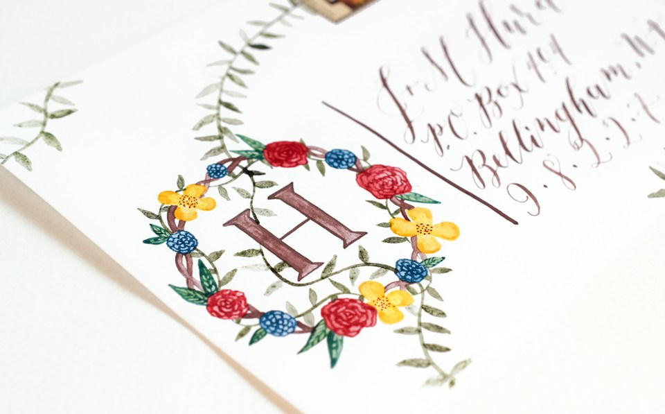 Watercolor Floral Monogram Tutorial | The Postman's Knock