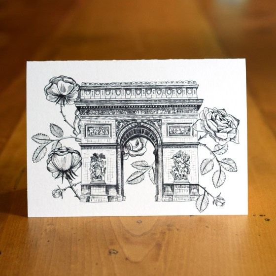 """This is the """"Rosy Arc de Triomphe"""" A7 Card. The Arc de Triomphe's beauty is highlighted here by luscious roses and lots of little details!"""