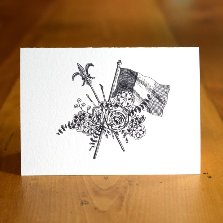 "The ""French Flag Bouquet"" A7 Card represents all things French: the French flag, the fleur-de-lis, art, and florals."