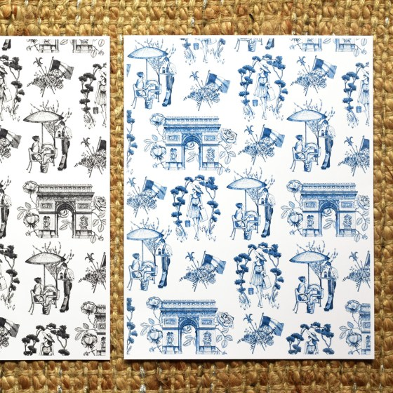 The printable toile pattern incorporates all of the illustrations on the cards, and can be used for to make everything from envelope liners to sketchbook or scrapbook pages.