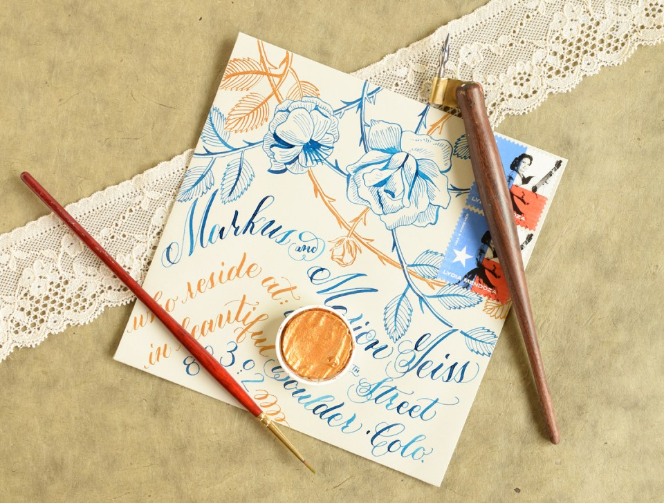 Blue and Gold Roses Envelope   The Postman's Knock