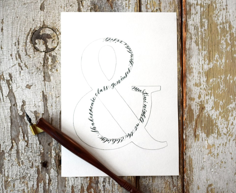 Calligraphy in the ampersand outline
