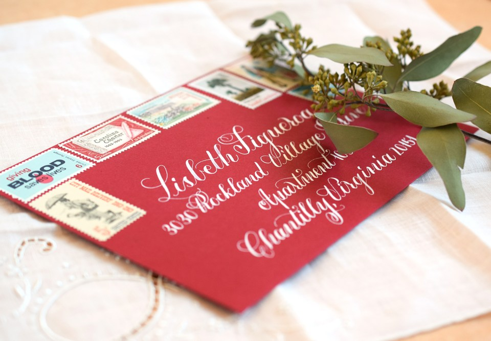 White Calligraphed Janet Style Envelope | The Postman's Knock