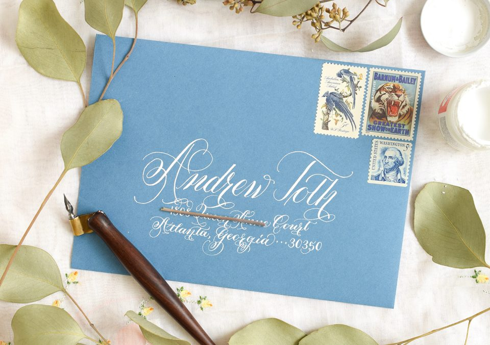 White Ink Calligraphed Envelope | The Postman's Knock