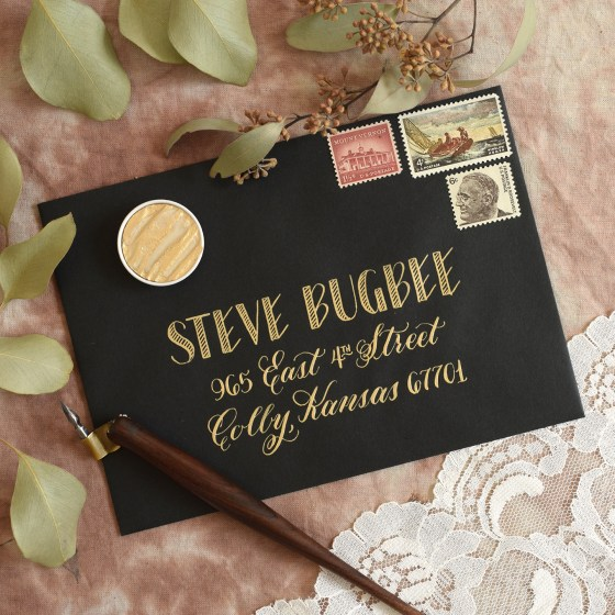 George Style lettering + elegant calligraphy + Finetec Arabic Gold makes a gorgeous combination!