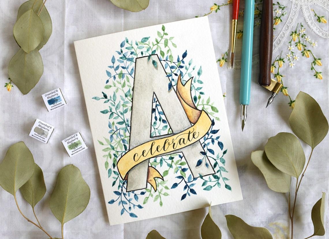 watercolor initial diy birthday card tutorial  the