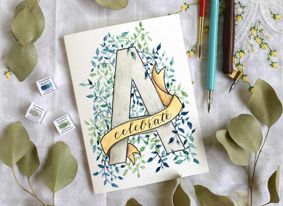 Watercolor Initial DIY Birthday Card Tutorial | The Postman's Knock