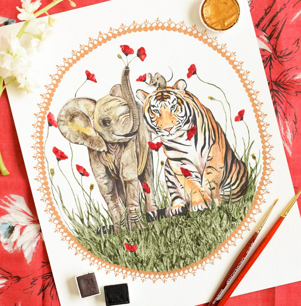 Tiger Mouse Elephant Painting | The Postman's Knock