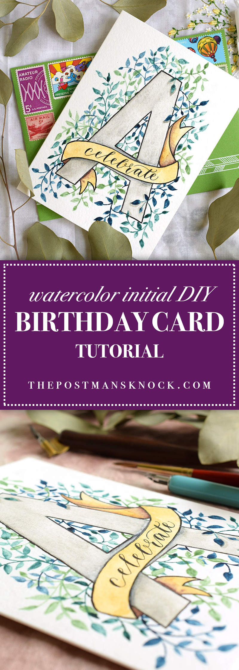 Watercolor Initial DIY Birthday Card Tutorial | The ...