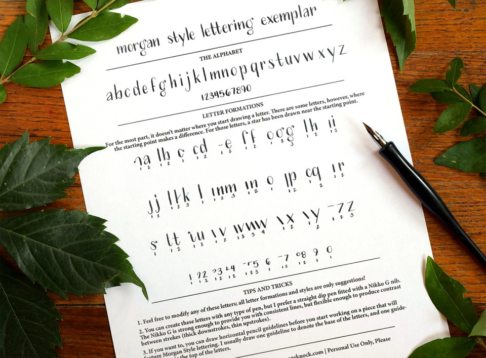"Free Dip Pen Hand-Lettering Exemplar: ""Morgan Style"""