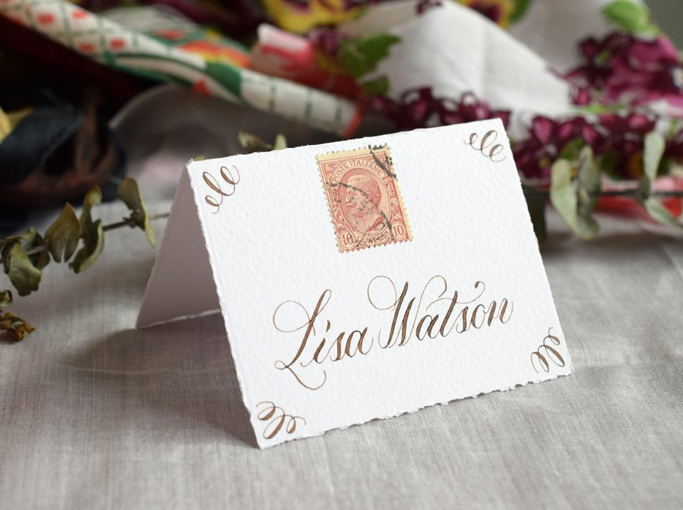 Walnut Ink Place Card   The Postman's Knock