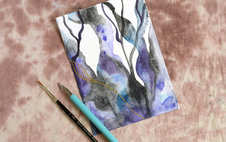 Watercolor + Gold Abstract Art Tutorial | The Postman's Knock