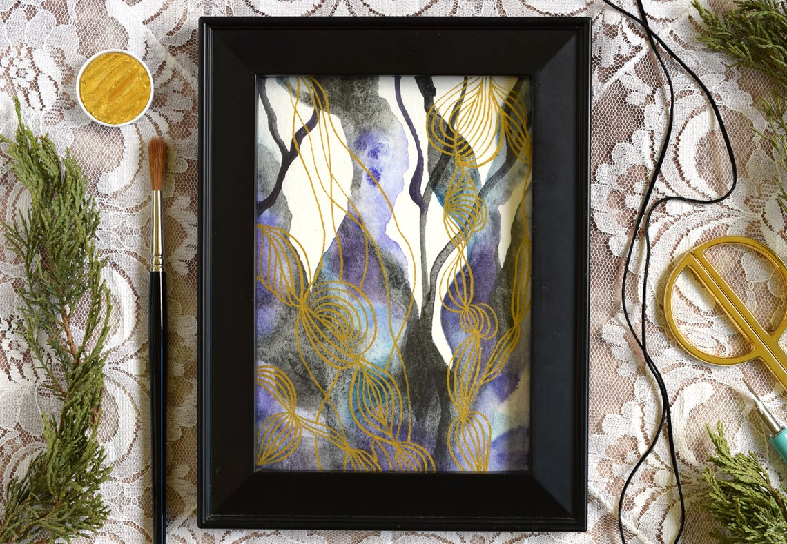 Watercolor + Gold Abstract Art Tutorial   The Postman's Knock