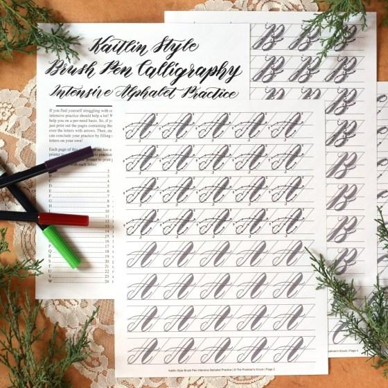 *NEW* Premium Brush Pen Calligraphy Worksheet Set {Kaitlin Style} | The Postman's Knock